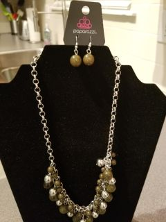 Paparazzi Olive Green/silver beaded necklace