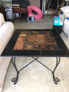 Heavy Wrought Iron End Table