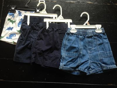 LOT 1: (SIZE: 24 MONTHS) 4 PAIRS OF SHORTS - 1 PAJAMA, 1 COMFY, 1 JEAN -- $6
