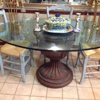 Dining Room Glass Top Table with Carvered Base
