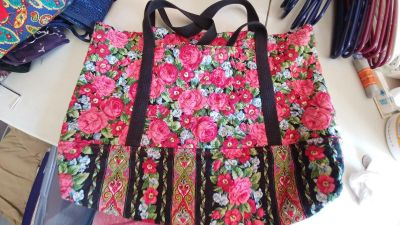"""Handmade Quilted Floral Tote Bag - 12"""" H x 18"""" W - 1 outside pocket - GUC"""