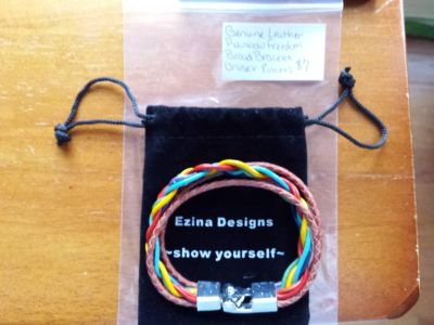 Genuine leather rainbow freedom braid bracelet