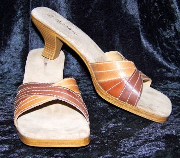 Cara Mia Mules, Suede & Faux Leather, 9 1/2, LIKE NEW!