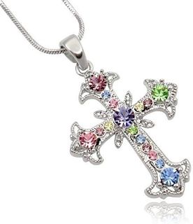 **BRAND NEW***Pastel Multi Color Crystal Cross Silver Tone Necklace***