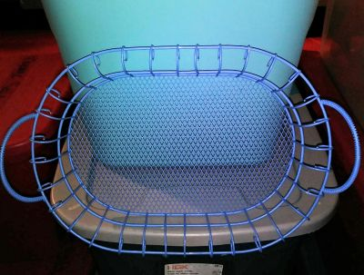 NICE BLUE IRON WIRE BASKET W/HANDLES ON EACH SIDE