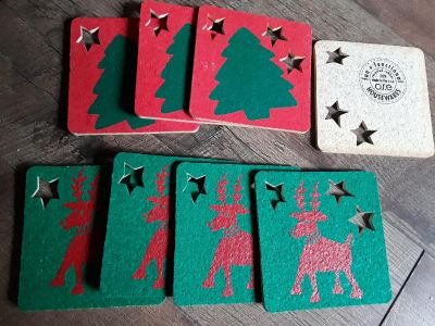 Recycled rubber Christmas coasters