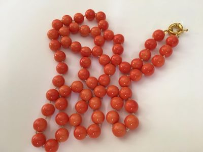 Genuine 12 MM pink round coral 36 inches length