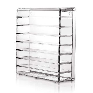 8-Tier Eyeshadow Palette Cosmetic Organizer with Removable Dividers Clear Acrylic