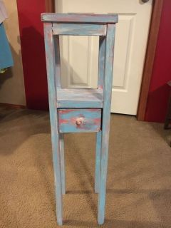2 tier narrow side/end/plant stand table with one drawer.