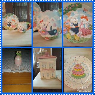 Lot of Easter Pitcher and Plate, cookie jar, plate and egg