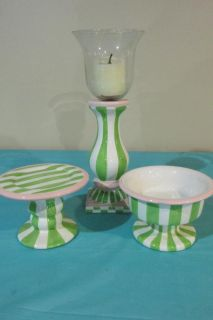 """3 piece Green and White Stripe Candle holders tallest 10.5"""""""