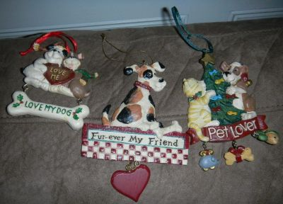 Puppy Dog Pet Lover Christmas Ornament Lot Kitty Cat Resin