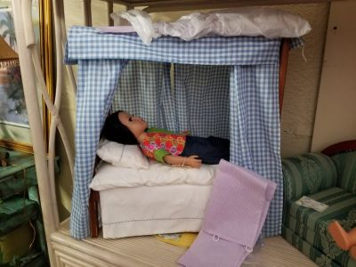 American Girl Size Canopy Bed with Bedding