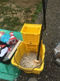 Mop and bucket on wheels