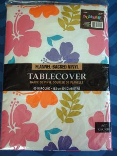 Floral Round Tablecloth with Flannel Backed Vinyl