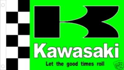 Purchase KAWASAKI MOTORS FLAG 3X5' GREEN CHECKERED BANNER JX* motorcycle in Castle Rock, Washington, US, for US $18.95
