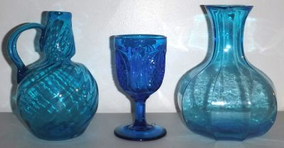 Vintage Indiana Tiara Wheaton Fenton Blue Glass Goblet Decanter Vases
