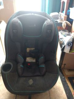 Blue and gray car seat