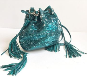 Like New Ion Turquoise Sequins Dress Purse