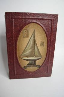 Old World Faux Leather SailBoat Book Box