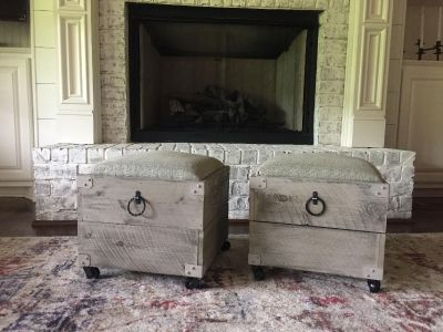 Pair of foot stools or ottomans
