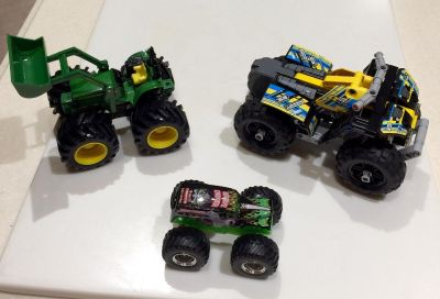 John Deere Truck, Monster Jam Truck & QB Truck-Never Played With Outside-clean & Excellent Condition