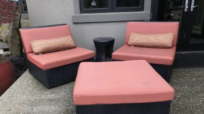 3 piece outdoor couch and table