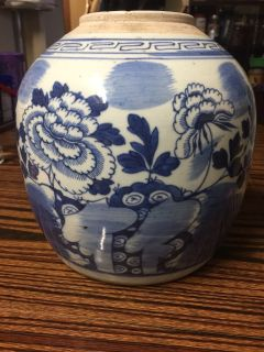 Old Blue and white peony jar