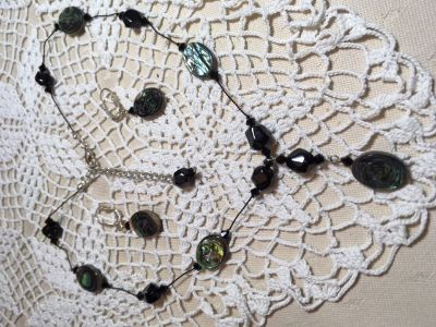 Black Jewelry Set Purchased from Artist over 20 Years Ago Black Abalone on Delicate Black String...