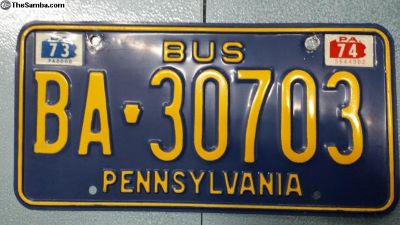 Mint 1973 1974 Pennsylvania Bus Camper License Tag