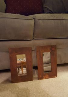 """Metal framed mirrors 11"""" by 7"""" hang long or short"""
