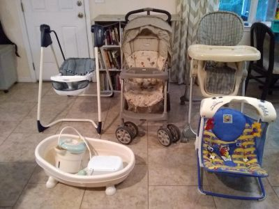 Baby Lot of 6 stroller, high chair ,swing, portable swing, baby bathtup and shower, wipe warmer