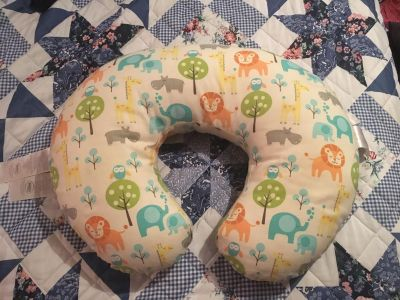 Boppy nursing pillow with Peaceful Jungle Slipcover
