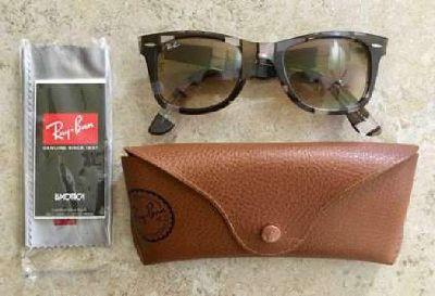 Ray Ban Wayfarer RB2140 Rare Prints Blocks Sunglasses - Brown