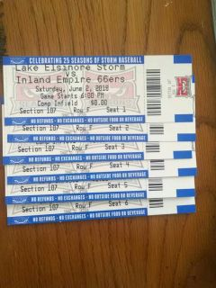 Six STORM tickets for tonight 6/2