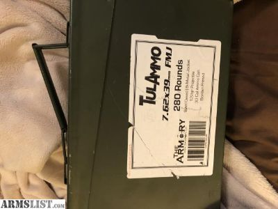 For Sale: 280 rounds of 7.62x39 in 50 cal ammo tin.