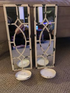 Pair of mirrored antique white/distressed candle holders