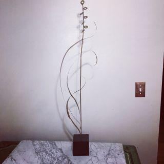 Vtg Mid Century Metal and Block Table Art