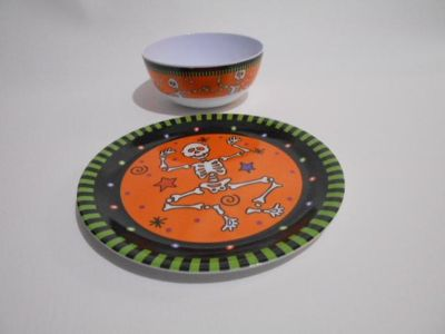 Child's Halloween Plate and Bowl