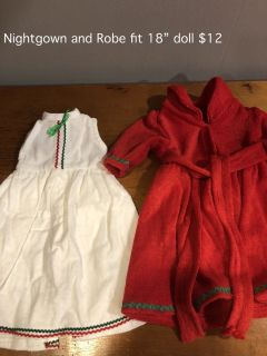 "White nightgown and Red Robe fit 18"" doll"