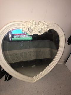 Antique heart shaped mirror