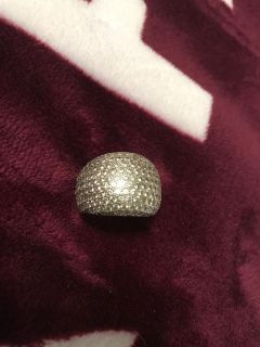 Sterling silver pave set dome rhinestone ring