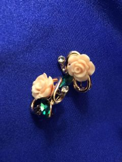Pierced Post Earrings - Jeweled Carved Roses Gold Toned Setting. New