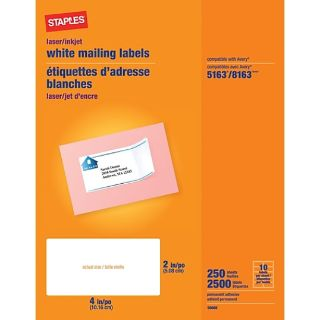 """NEW-Staples Laser/Inkjet Shipping Labels, 2"""" x 4"""", White, 10 Labels/Sheet, 250 Sheets/Box (18066)"""