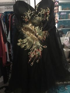 Peacock tulle dress.