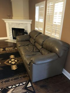 Nice grey leather couches