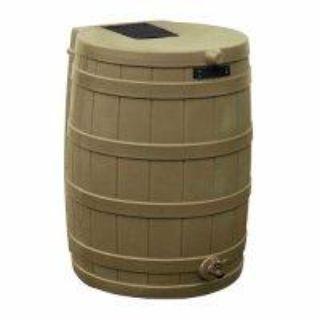 Rain Barrel. Kaki color. Spout. Screen on top. Hose attaches
