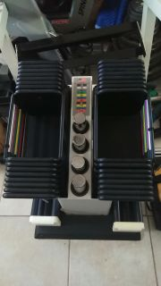Powerblock adjustable dumbbells Weights with matching metal stand $600