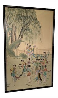 Vintage Chinese Silk Painting w/ Faux Bamboo Frame