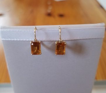 Emerald Cut Citrine Earrings in 10K Gold